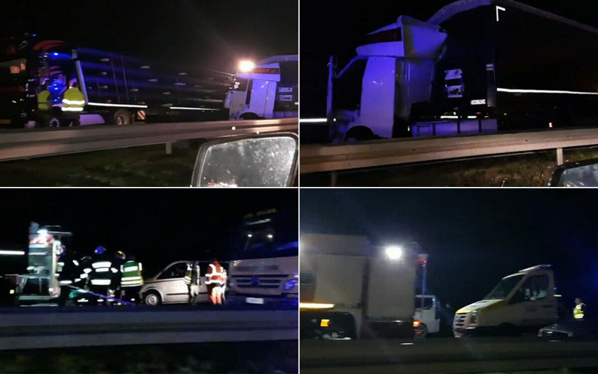 09de3e4a Tragiczny wypadek autostradzie A4 na wysokości węzła Brzezimierz w kierunku  Wrocławia. Zderzyły się tam dwie ciężarówki i samochód osobowy.