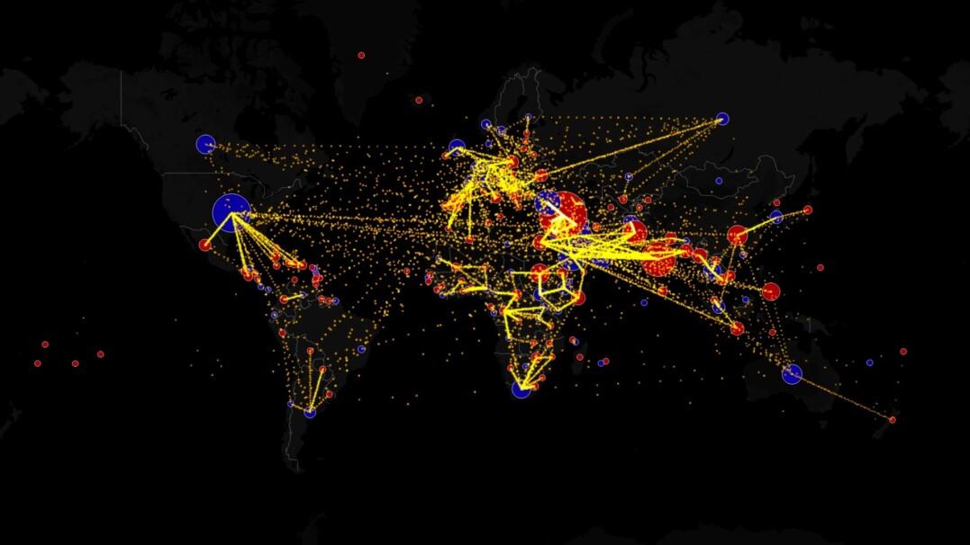 Mapa imigrantów. Ilustruje, skąd i dokąd przenosili się ludzie w ostatnich latach
