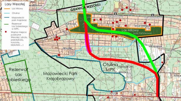 Dwa warianty przebiegu S17 przez Wesołą Sąsiedzi dla Wesołej
