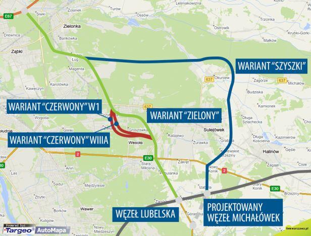 Warianty obwodnicy przez Wesołą tvnwarszawa.pl