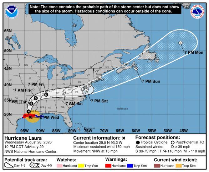 Prognozowana ścieżka przechodzenia huraganu Laura (NHC)