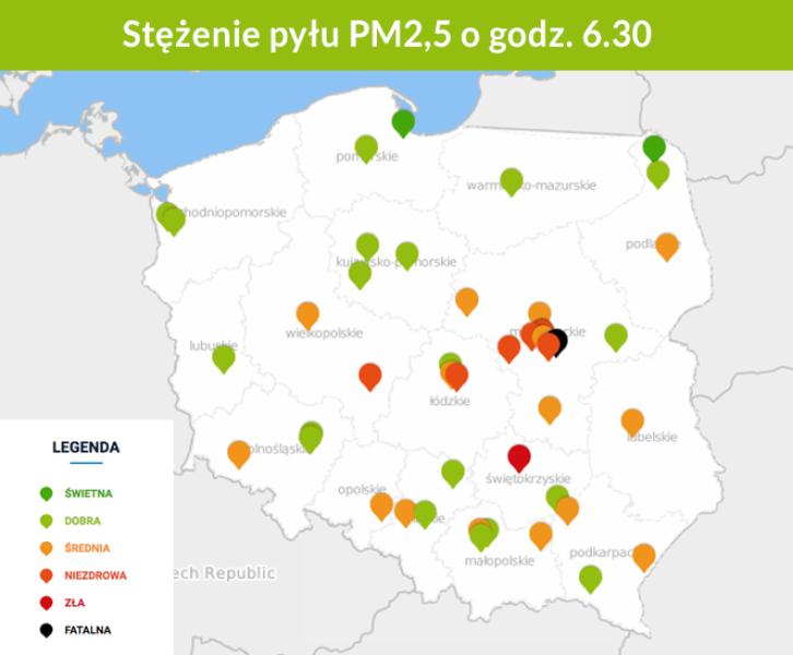 Stężenie pyłu PM2,5 o godzinie 6.30 (GIOŚ)