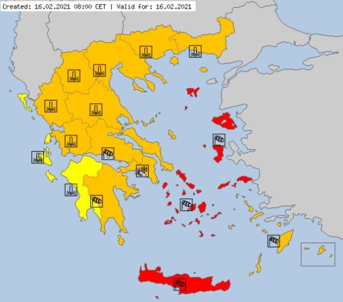Ostrzeżenia meteorologiczne w Grecji na wtorek (meteoalarm.eu)