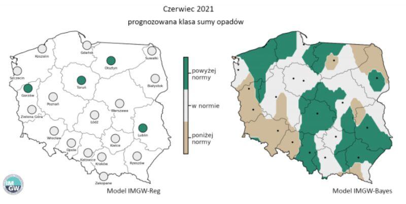 Prognozowana klasa miesięcznej sumy opadów w czerwcu 2021 r. według modelu IMGW-Reg i IMGW-Bayes (źródło: IMGW)