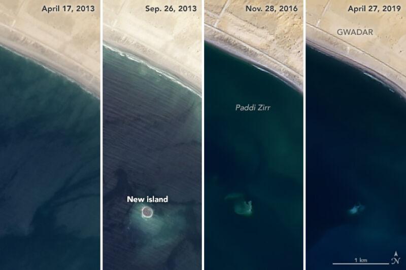 Zdjęcie pokazujące systematyczne znikanie wyspy (NASA)