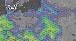 Potencjalny rozwój burz we wtorek (Ventusky.com) | wideo bez dźwięku